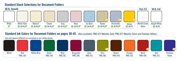 2010 Document folder color chart
