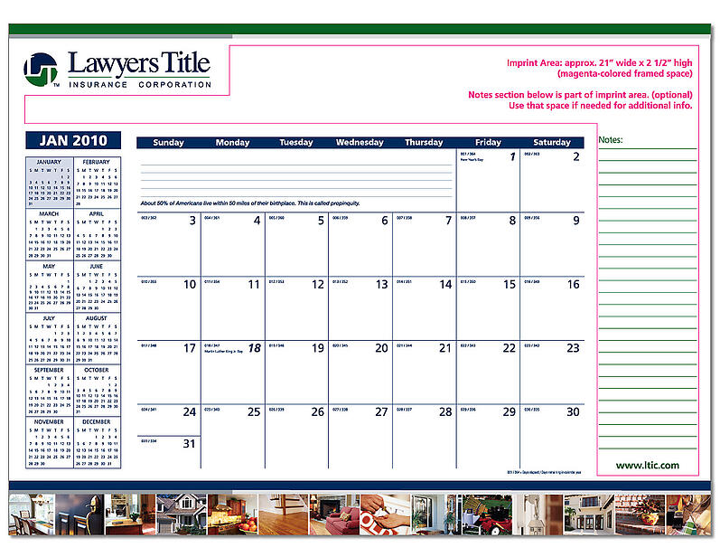 Lawyers Title Deskpad Calendars